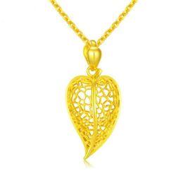 Wholesale 24k Gold Designer - New 999 Pure 24K Yellow Gold leaf pendant   fashion hollow designer Real gold Pendant 3.15g