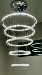Wholesale Hotel Galaxy - Dimming 5 ring Galaxy Light LED Crystal Chandelier Living Room Hall Ceiling Lamp
