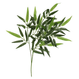 Wholesale Artificial Plastic Plants - Wholesale-Excellent Quality 12Pcs Artificial Bamboo Leaf Plants Plastic Tree Branches 60 Leaves Decoration New Arrival