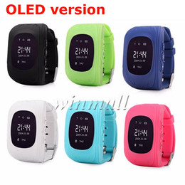 Wholesale Gsm Remote Controls - OLED Q50 Kids GPS Tracker Smart Watch Phone SIM Quad Band GSM Safe SOS Call Smartwatch For Android & IOS