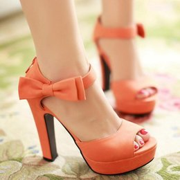 Wholesale Size 32 Sandals - Fashion Women High Heel Sandals Western Women Shoes Chunky Heel Zipper Cover Heel Bowtie Open Toe Sandals Size 32-43
