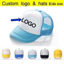 Wholesale Kids Boys Baseball Hat - Factory Wholesale Free DLY LOGO Kids Trucker Caps Summer Children Sun Hats Baseball hat Boys Cap Girl Mesh Hat Free Logo Printing