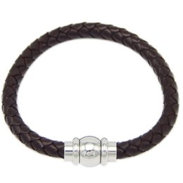 Wholesale Bracelets Leather Customized - Free Shipping 10pcs lot hot sale Customized Engrave Logo Bio Magnetic Leather Bracelet Braided Mens Leather Bracelet