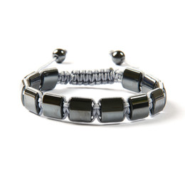 Wholesale Square Stone Beads - New Design Fashion Jewelry High Quality Black Helmatite Stone Square Beads Macrame Braiding Bracelet For Men's Gift