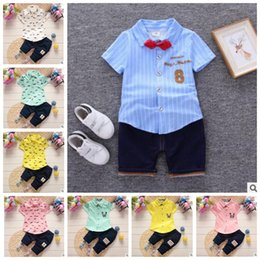 Wholesale Baby S Clothing - Baby Clothing Sets Gentleman Style Outfits Summer Formal Tops Pants Beard Lapel Boys Fashion Sets Child Cotton Suits Kids Baby Clothes J369