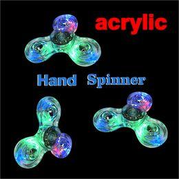 Wholesale Acrylic Clear Balls - 2017 Acrylic LED Luminous Glitter Jelly Clear Fidget Spinner Crystal Hand Spinner Tri Fidget Ceramic Ball Desk Focus Toy