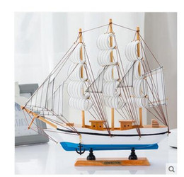 Wholesale Usa Studies - Solid wood model sailboats creative household USA style real wood decoration model wooden handicraft furnishing articles creative ship model
