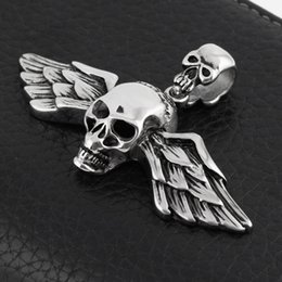Wholesale Mens Stainless Steel Skull Pendants - Fashion Silver Pendant Jewlery 316L Stainless Steel Mens Chain Skull Pendant Necklace P67