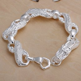 Wholesale Bracelet Link Types - 10PCS lot Free shipping Wholesale 925 Sterling silver plated men's bracelets of large dragon type for gifts LKNSPCH036