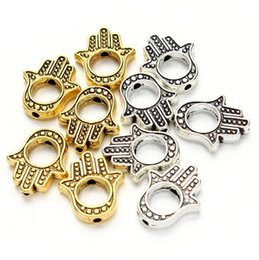 Wholesale Gold Big Hole Spacer Beads - 200pcs lot Fatima Hand Charms Pendant Antique silver Gold big Hole spacer Bead for DIY Jewelry Making 13x15mm