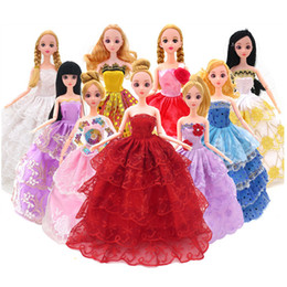 Wholesale Kids Western Dresses - Fashion Doll Clothes Doll Accessorie Wedding Dress Clothing Gown Princess Outfit Clothes For Doll 5 Pcs set Toys For girls Kid