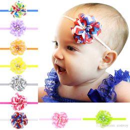 Wholesale Make Baby Hair Bands - Newborn Baby Headbands Flower Hand Made Rhinestone Pearl Head bands Baby Girls Chiffon Elastic Headbands Children Hair Accessories KHA177