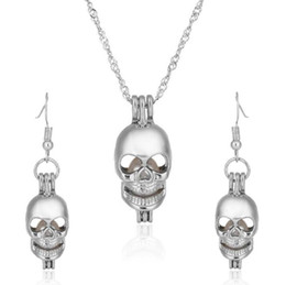 Wholesale Mexican Skull Earrings - Love Wish Pearl Skull Cages Locket Earrings & Necklace Freshwater Pearls Oyster Pendant(Excluding Pearl Canned)Halloween Christmas Jewelry