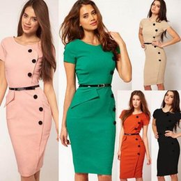 Wholesale Front Pencil Skirt - Made in Europe and the United States elegant style simple and dignified career OL obvious body pencil skirt front skirt button knee knee lad