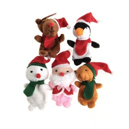 Wholesale Deer Plush Doll - Wholesale- Hot Selling Christmas Finger Puppets Santa Claus Snowman Deer Bear Penguin Plush Toys Dolls 5pcs