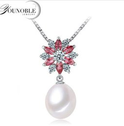 Wholesale Yellow Pearl Flower Necklace - 3 Colours Natural Fresh Water Flower Shaped Pearl Pendant Necklace Women 925 Sterling Silver Pearl 9-10mm Jewelry Anniversary Gift Best