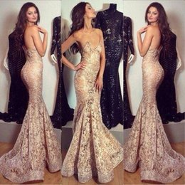 Wholesale Piece Perspective - Sexy Perspective Lace Mermaid Evening Dresses 2017 New V-Neck Sweep Train Ribbons Appliques Off the Shoulder Prom Gowns