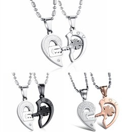 Wholesale Lock Key Couples Jewelry - Titanium Steel Two Half Heart Puzzle Necklace With Lock Key Design Pendant Free Chains For Couple Fine Jewelry Gift