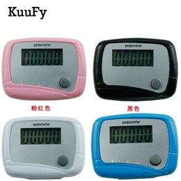 Wholesale lcd run step pedometer - Wholesale- KuuFy (200Pcs Lot) Sport Running Calculator New Brand Lcd Display Walking Pedometer Step Counter Calorie Burned Counter