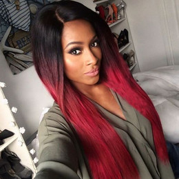 Wholesale Red Straight Wig - Fashion Black Burgundy Ombre stragiht synthetic lace front wig glueless wine red heat resistant with baby hair for black women