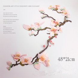 Wholesale Iron Fabric Flowers - Large Magnolia Flower Patch 21*48cm Embroidered Sewing Applique Iron On Patches For Clothing Dress Cheongsam Fabric Decoration Accessories