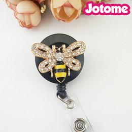 Wholesale China Reels - Wholesale In China Customized Rhinestone Honey Bee Brooch Retractable Badge Reel Party Nurse Badge Heel Holder