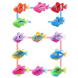 Wholesale Flashing Fish - Children Kids Solid Color Flashy Electronic Pets Toy Robot Simulation Fish Swimming Diving Electric Fish Turbot Clownfish Bath Toy