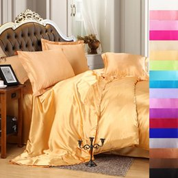 Wholesale Solid White Satin Bedding Set - Wholesale-Luxury satin silk bedding set super king queen twin size,Quilt duvet cover set bed sheet linen set Black white blue purple &45