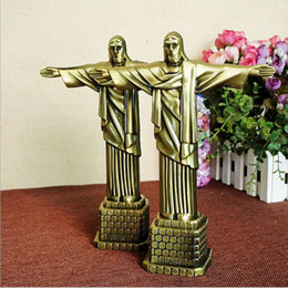 Wholesale Wholesale Religious Art - Metal crafts Christian Statue of Jesus Arts and Crafts Christian gifts Character Jesus model 17*7*21cm DHL