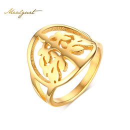 Wholesale Tree Rings For Finger - Meaeguet Vintage Women Ring Life Tree Gold-Color Female Wishing Tree For Anniversary Round Finger Ring R-263G