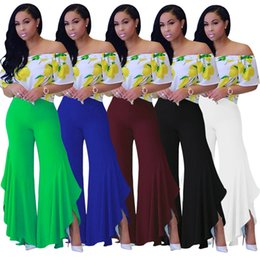 Wholesale High Fashion Clubwear - Fashion Woman Ladies Ruffled Irregular Solid Casual Clubwear Summer Wide Leg Long Pants Trouser