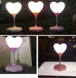 Wholesale Heart Touch Love - Love Heart LED Table Light USB Charging Brightness Adjustable Touch Night Lamp For Kids Bedroom Room New Year Decoration