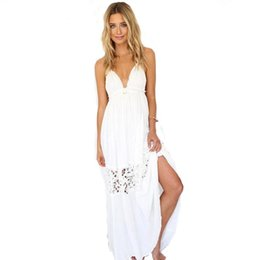Canada Ladies Summer Bikini Dresses 2017 Sling Dress Bohemia Seaside Beach Holiday Robe Femme Pleated Long Skirt Hollow Out Dress bohemia pleated long skirt promotion Offre