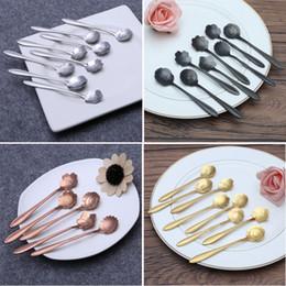 Wholesale Tea Set Teaspoons - 8pcs set Flower Shape Stainless Steel Tea Coffee Spoon Teaspoons Ice Cream Sugar Flatware Sliver Gold Tableware Kitchen Tools
