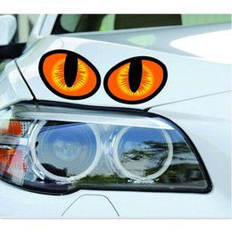 Wholesale Cars Windshield Eyes - Wholesale- 1 Pair 3D mini Eagle Eyes Car Decals Sticker Personalized Rearview Car Sticker 10x8cm