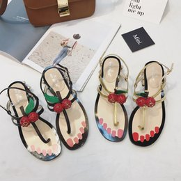 Wholesale Korean Shoes Open Toe - 2017 new summer pearl with coarse word buckle leather shoes with low all-match Korean female toe sandals cherry big shoes