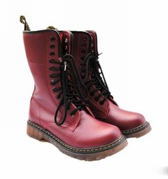 Wholesale White Platform Heel Boots - 12 14 Holes Top Real Leather Cowskin Martin Boots Men Women Durable Transparent Sole Platform Leisure Shoes