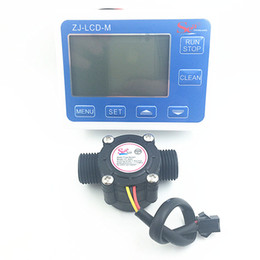 Wholesale Digital Counter Sensor - Wholesale- YF-S201 G1 2 Water Flow meter Sensor flowmeter caudalimetr counter indicator + digital LCD water flow system 1-30Lmin 3-24V