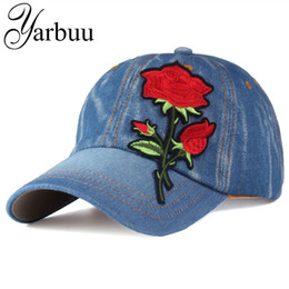 Wholesale Brand New Ladies Jeans - Wholesale- [YARBUU]Brand Baseball Cap with red Rose women casual snapback hat new fashion solid jeans caps summer sun lady hats wholesale