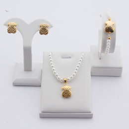 Wholesale 14k Rose Gold Filled - TL Stainless Steel Imitation Pearl Bear Jewelry Set Bear Jewelry High Quality Never Fade 3 Colours Rose Gold