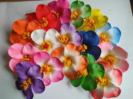Wholesale Hair Foam Flowers - 200pcs Table Decorations Hibiscus Flower Foam Hibiscus Flower Bridal Hair Clip 9cm Wedding Party Decoration Romance