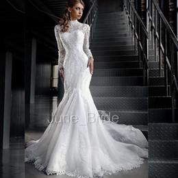 Wholesale Delicate Mermaid - Winter Romantic Mermaid Lace Wedding Dress with Long Sleeve High Neck Jacket Factory Custom Made Delicate Vestidos De Noivas 100% Handmade