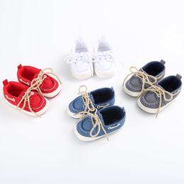 Wholesale Toddler White Canvas Shoes Wholesale - Baby shoes 2017 new Boys Girls lace-up bows cowboy shoes toddler kids soft non-slip pre walkers children casual shoes 6234