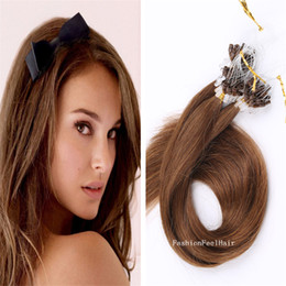 Wholesale Wholesale Remy Hair 15 - 300g 18inch - 28inch 1g 15 colors prebonded Micro Loop extensions straight Human Remy Micro Ring Hair Extension