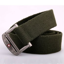 Wholesale Canvas Fabric Colors Wholesale - New 2017 Military Equipment Tactical Fashion Swiss style Belt Man Double Ring Buckle Thicken Canvas Belts for Men Waistband nine colors
