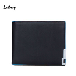 Wholesale New Mens Photos - Baellerry New Luxury Mens PU Leather Open Wallet Black Blue Side Short Purses Casual Business Wallets Purse For Men High Quality Money Clip