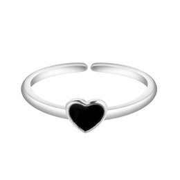 Wholesale adjustable heart ring - 5pcs lot 925 Sterling Silver Ring Black Heart Shape Adjustable Finger anel for Women Jewelry Bijoux Wedding Engagement Gift