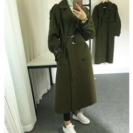 Wholesale New Style Hot Women Jackets - New Arrivals Arm Green Long Women Coats 2017 Hot Style Elegant Long Sleeves Lapel Neck Double Button Wool Blends Long Jackets