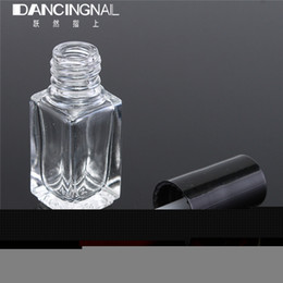 Wholesale Empty Nail Polish Bottle 5ml - Wholesale- 1pcs 5ml Empty Glass Nail Polish Bottle Transparent With A Lid Brush Empty Cosmetic Square Nail Oil Glass Bottles Containers
