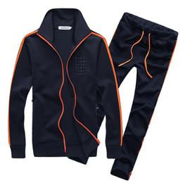 Wholesale Grey Zip Jacket - 2017 new men clothing outdoor zip long sleeve Running Sets men Running Wear suit men's Sweatshirts+male Tracksuit Set jacket